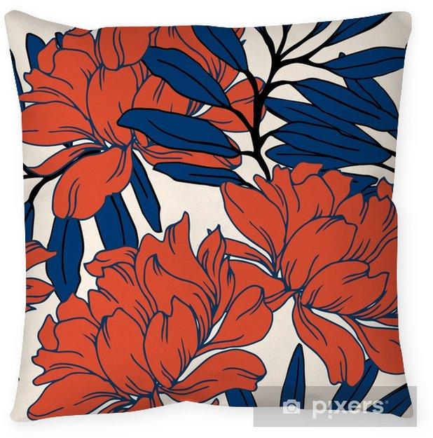 Cojín decorativo Patrón de elegancia abstracta con fondo floral. - Plantas y flores