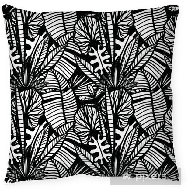 Cojín decorativo Patrón tropical blanco y negro con plantas exóticas. patrón tropical de vector transparente con hojas. - Plantas y flores