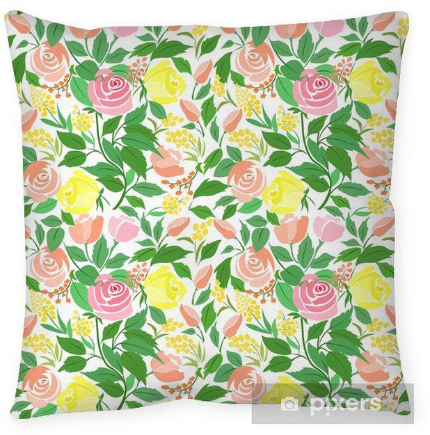 Cojín decorativo Patrones sin fisuras con rosas delicadas flores, pequeñas flores y hojas verdes. - Plantas y flores