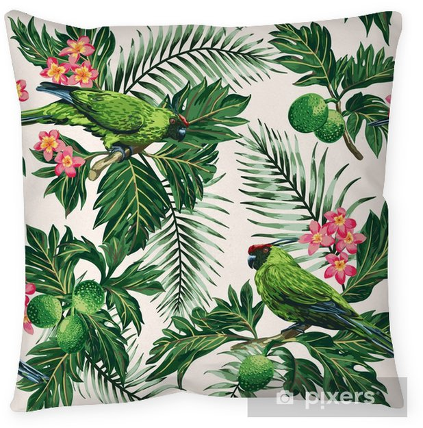 Cojín decorativo Patrones tropicales sin fisuras con hojas, flores y loros. - Animales