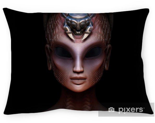 Cojín decorativo Reina de mujer híbrida alienígena con vista frontal de corona parásita incrustada - Gente