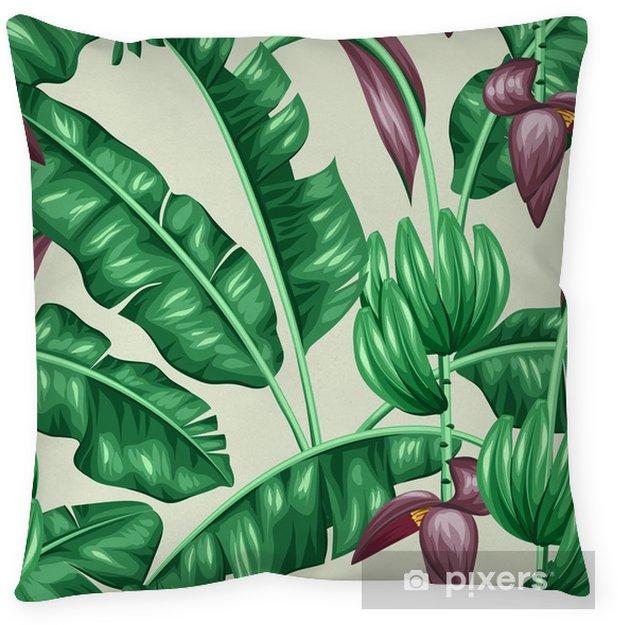 Cojín decorativo Sin patrón, con hojas de plátano. Imagen decorativa de tropicales follaje, flores y frutas. Antecedentes de hecho sin la máscara de recorte. Fácil de usar para el telón de fondo, textiles, papel de envolver - Plantas y flores
