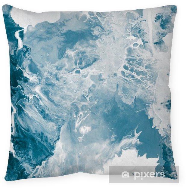 Cojín decorativo Textura de mármol azul -