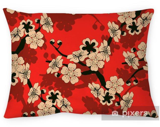 Cojín decorativo Un azulejo inconsútil del estilo japonés con una rama de cerezo y un patrón de flores en negro, rojo y marfil - Recursos gráficos