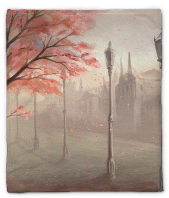 Coperta di peluche Albero di sakura in fiore sullo sfondo della città vecchia con lan