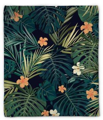 Coperta di peluche Fondo senza cuciture tropicale colorato luminoso con foglie e