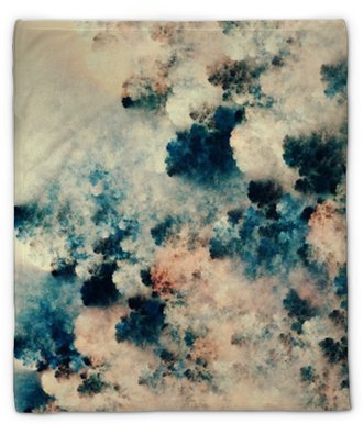 Coperta di peluche Pittura astratta digitale di trame scure che assomigliano a nuvole di fantasia su uno sfondo chiaro