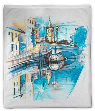 Coperta di peluche Ponte attraverso il naviglio grande canale all'alba, Milano, Lombardia, Italia. schizzo fatto di fodera e pennarelli