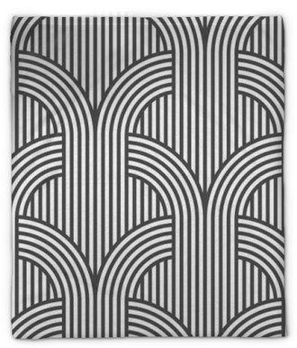 Coperta di peluche Strisce geometrico senza soluzione di modello in bianco e nero - variazione 5