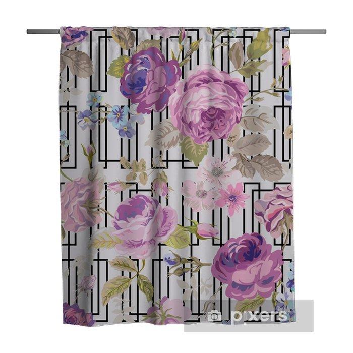 Cortina de ducha Antecedentes de primavera Flores Geometría - Seamless floral elegante lamentable - Plantas y flores