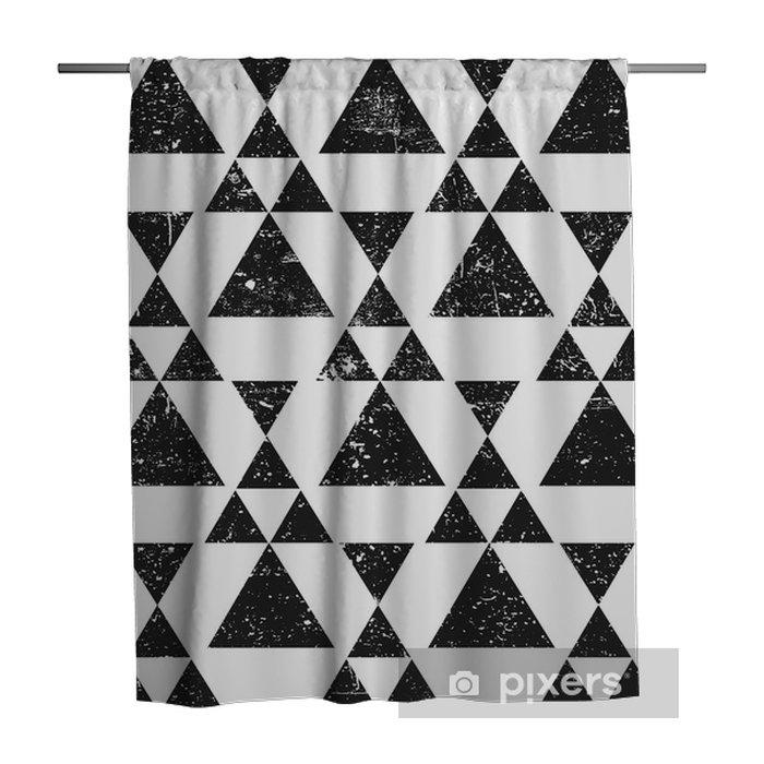 Cortina de ducha Fondo negro triángulo geométrico. patrón abstracto grunge con textura. - Recursos gráficos