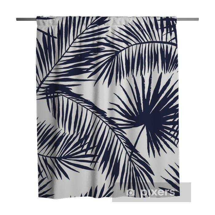 Cortina de ducha Hojas de palmera silueta sobre el fondo blanco. Modelo inconsútil del vector con las plantas tropicales. - Flores y plantas