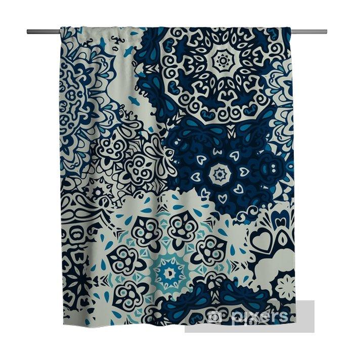 Cortina de ducha Mandala de la flor azul de fondo de fisuras - Plantas y flores