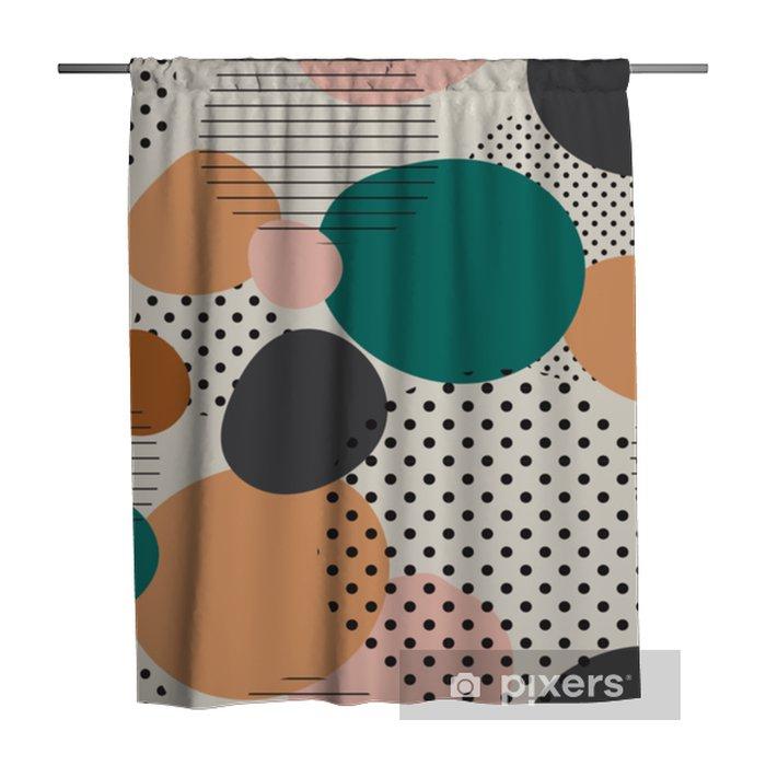 Cortina de ducha Modelo inconsútil de moda de formas geométricas y garabatos. patrón de colores estilo memphis - Recursos gráficos