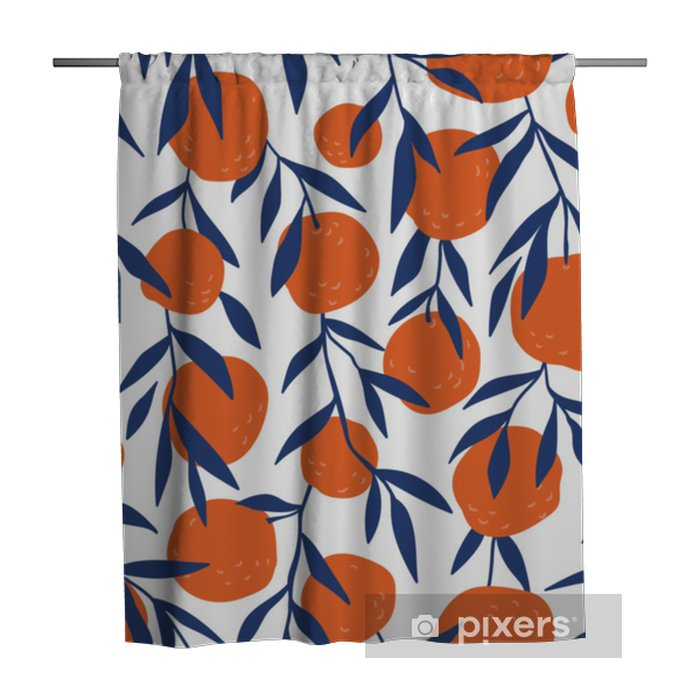 Cortina de ducha Modelo inconsútil tropical con naranjas rojas. Fruta repetida de fondo. Vector brillante de impresión para tela o papel tapiz. - Recursos gráficos
