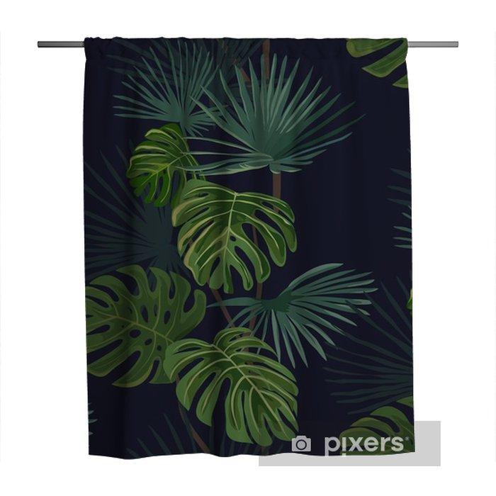 Cortina de ducha Patrón sin fisuras con las hojas tropicales. Mano de fondo dibujado. - Plantas y flores