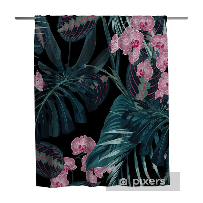 Cortina de ducha Patrón transparente, colores verdes oscuros hojas de palma y flores de orquídeas rosadas tropicales sobre fondo negro. estilo vintage. - Plantas y flores