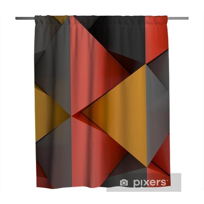 Cortina de ducha Representación 3D de un fondo abstracto de la pirámide con colores rojos y grises anaranjados - Recursos gráficos