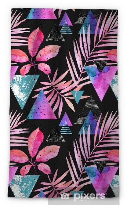 Cortina opaca Hojas de acuarela exóticas, texturas grunge, garabatos de patrones sin fisuras en colores rave - Plantas y flores