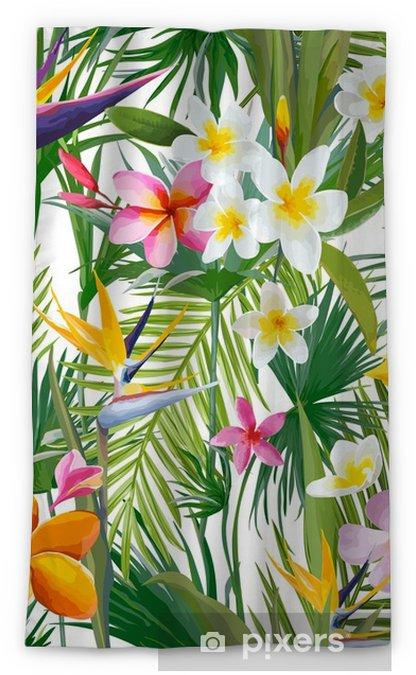 Cortina opaca Hojas de palmera tropical y flores, selva hojas de fondo de vector floral sin fisuras - Plantas y flores