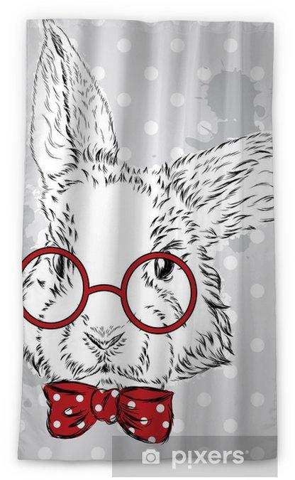 Cortina opaca Vector de conejo. Gráfico de la mano del animal. Impresión . Inconformista. Acuarela Bunny. Postal de la vendimia. - Animales