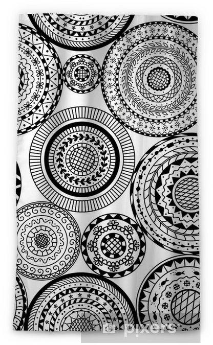 Cortina Opaca Vector Sin Patrón De Mandalas Redondos En Blanco Y Negro Fondo Decorativo Del Círculo Mandala Libro De Páginas Para Colorear Anti