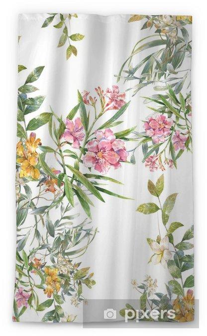Cortina transparente Acuarela de la pintura de hojas y flores, patrón transparente sobre fondo blanco - Hobbies y entretenimiento