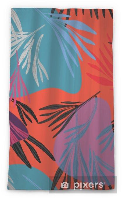 Cortina transparente Fondo de hoja de palma colorido tropical. Ilustración floral de verano brillante vector. follaje de la naturaleza del árbol de impresión. Planta forestal exótica. - Recursos gráficos