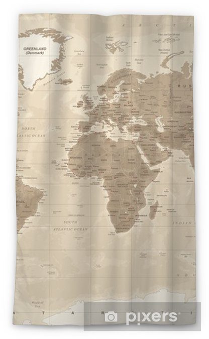Cortina transparente Mapa del mundo físico vintage - vector - Viajes