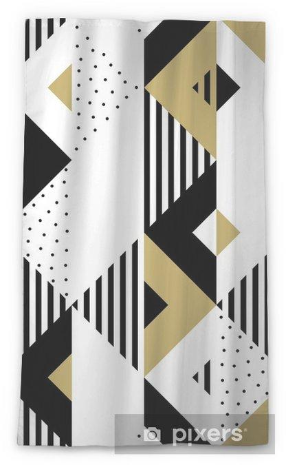 Cortina transparente Triángulo geométrico abstracto oro de patrones sin fisuras. Fondo de vector de negro, blanco y dorado patrón triangular o cuadrado muestra ornamento textura o mosaico diseño telón de fondo plantilla de azulejo - Recursos gráficos