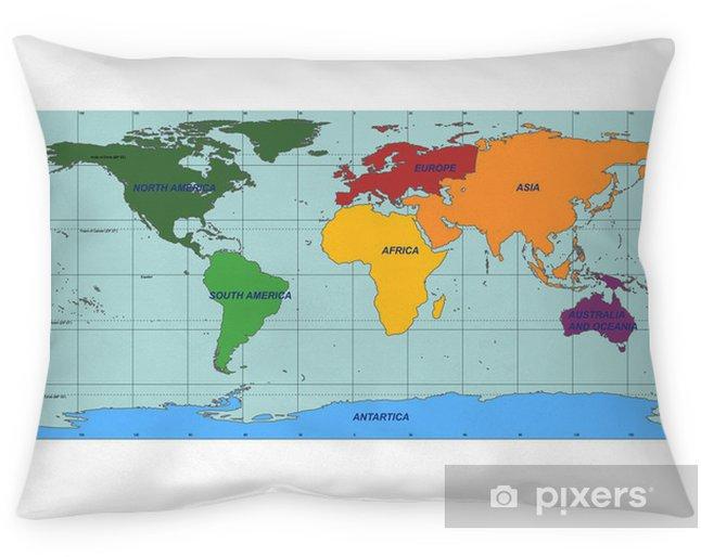 Coussin Décoratif Carte Du Monde Détaillée Avec Des Noms De Pays Et De Continent Vecteur