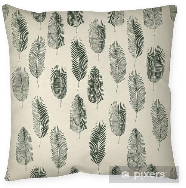 Coussin décoratif Ensemble de feuilles de palmiers dessinés à la main - Arbres