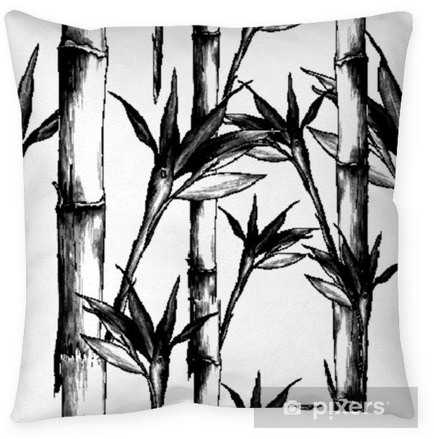 Coussin Décoratif Feuilles Branches Tige Motif De Bambou Fleurs Texture Cadre Croquis Sans Soudure Vecteur Graphiques Dessin Noir Et Blanc Monochrome