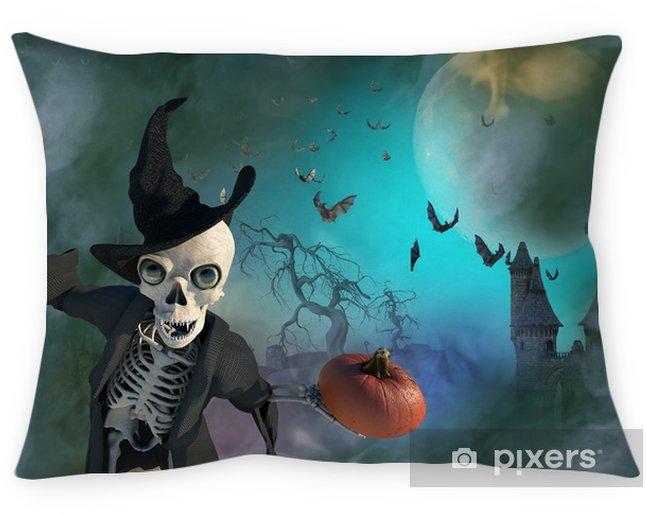 Coussin décoratif Illustration 3D d'un squelette d'halloween portant un chapeau de sorcière - Culture et religion
