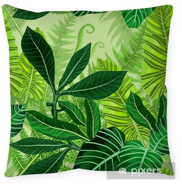 Coussin décoratif Modèle sans couture avec des feuilles de palmiers tropicaux - Plantes et fleurs