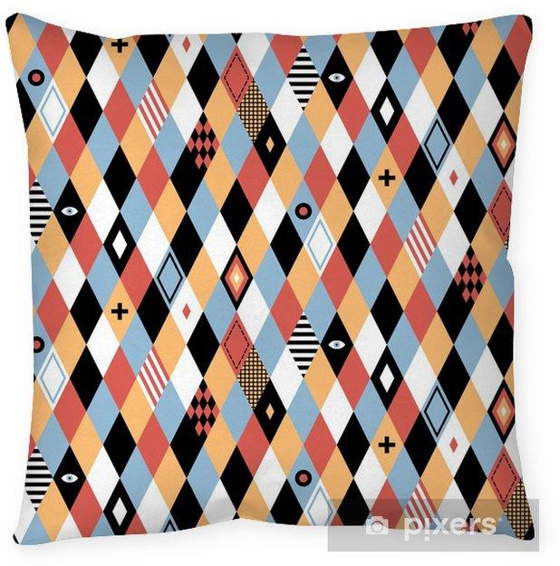 Coussin décoratif Motif géométrique Seamless dans un style plat avec des losanges colorés. Utile pour emballage, papiers peints et textiles. - Ressources graphiques