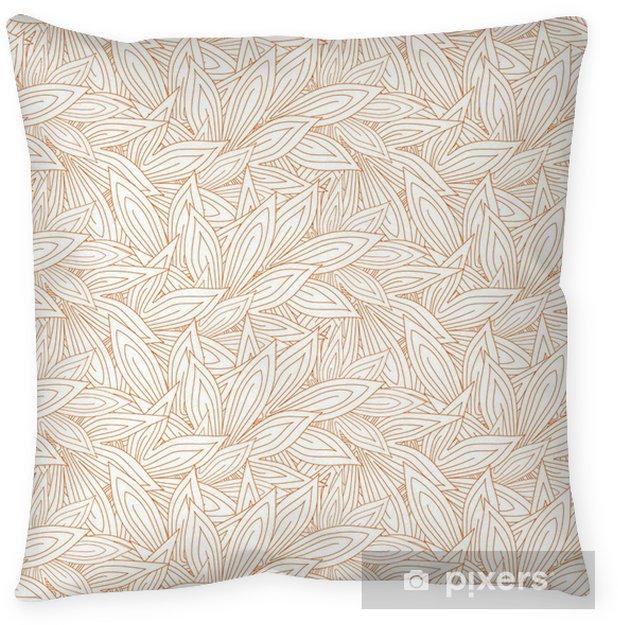 Coussin décoratif Seamless pattern mignon avec le rouge contour des feuilles d'automne sur le fond blanc (transparent). Vector illustration - Ressources graphiques
