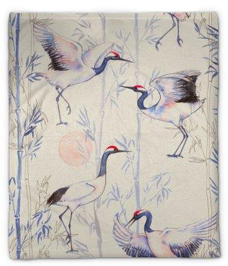 Couverture en molleton Aquarelle seamless main-dessinée avec grues blanches de danse japonaise. fond répétée avec des oiseaux délicats et bambou