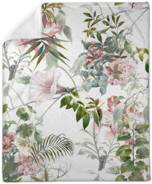 Aquarelle sur papier des feuilles et des fleurs, motif sans couture sur fond blanc Couverture en Molleton