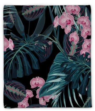 Couverture en molleton Modèle sans couture, feuilles de palmier de couleurs vert foncé et fleurs d'orchidées roses tropicaux sur fond noir. style vintage.