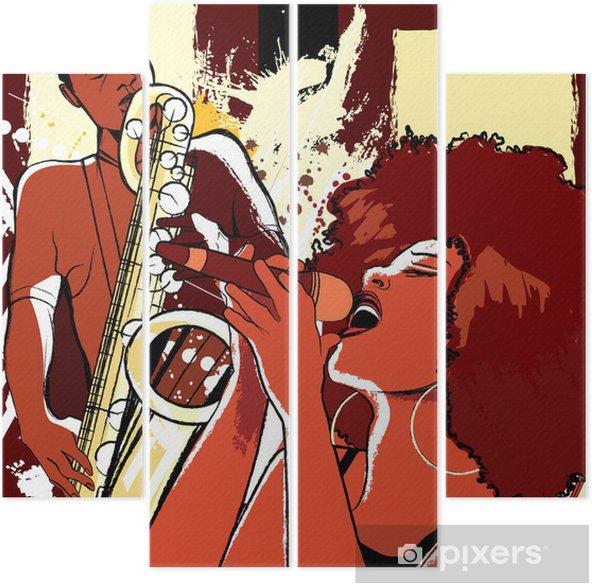 Cuadríptico Cantante de jazz y saxofonista en el fondo del grunge - Jazz