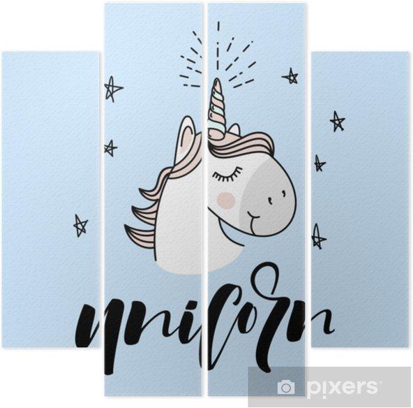 Cuadríptico Diseño de vector de cabeza de unicornio mágico lindo - Animales