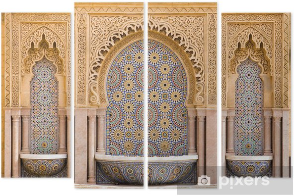 Cuadríptico Fuente de azulejos marroquí típico en la ciudad de Rabat, cerca de la H - Religión