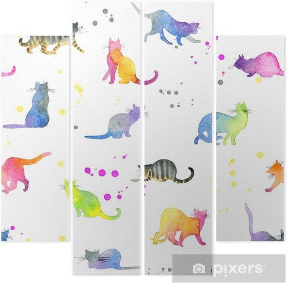 Cuadríptico Patrones sin fisuras con gatos lindos - Animales