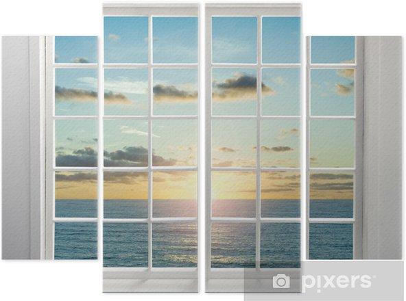 Cuadríptico Residencial de la ventana moderna con vista al mar durante la puesta del sol - Estaciones