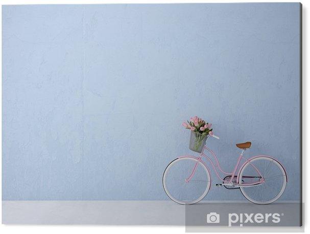 Cuadro en Dibond Bicicleta de la vendimia retro de la pared de edad y azul. Las 3D - Transportes