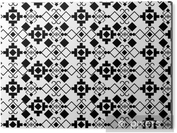 Cuadro en Dibond Boho estilo blanco y negro del diseño del fondo. Decoración Bohemic patrón de la vendimia y el tema del papel pintado. ilustración vectorial - Recursos gráficos