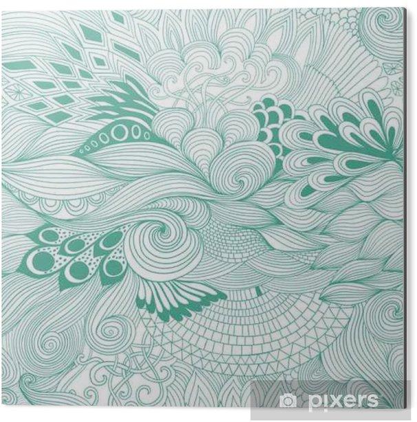 Cuadro en Dibond Modelo abstracto del fondo sin fisuras con el ornamento colorido. Dibujar a mano ilustración, libro para colorear zentangle - Plantas y flores