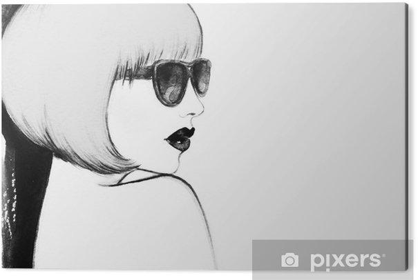 Cuadro en Dibond Mujer con gafas. ejemplo de la acuarela - Gente