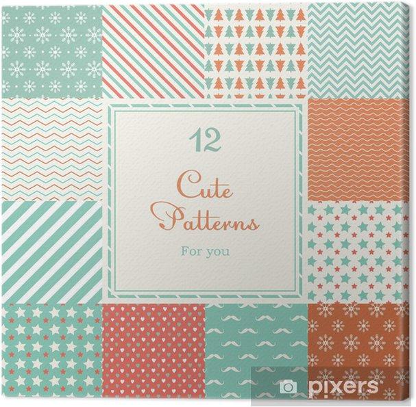 Cuadro en Lienzo 12 diferentes patrones de vector lindos sin costura ...